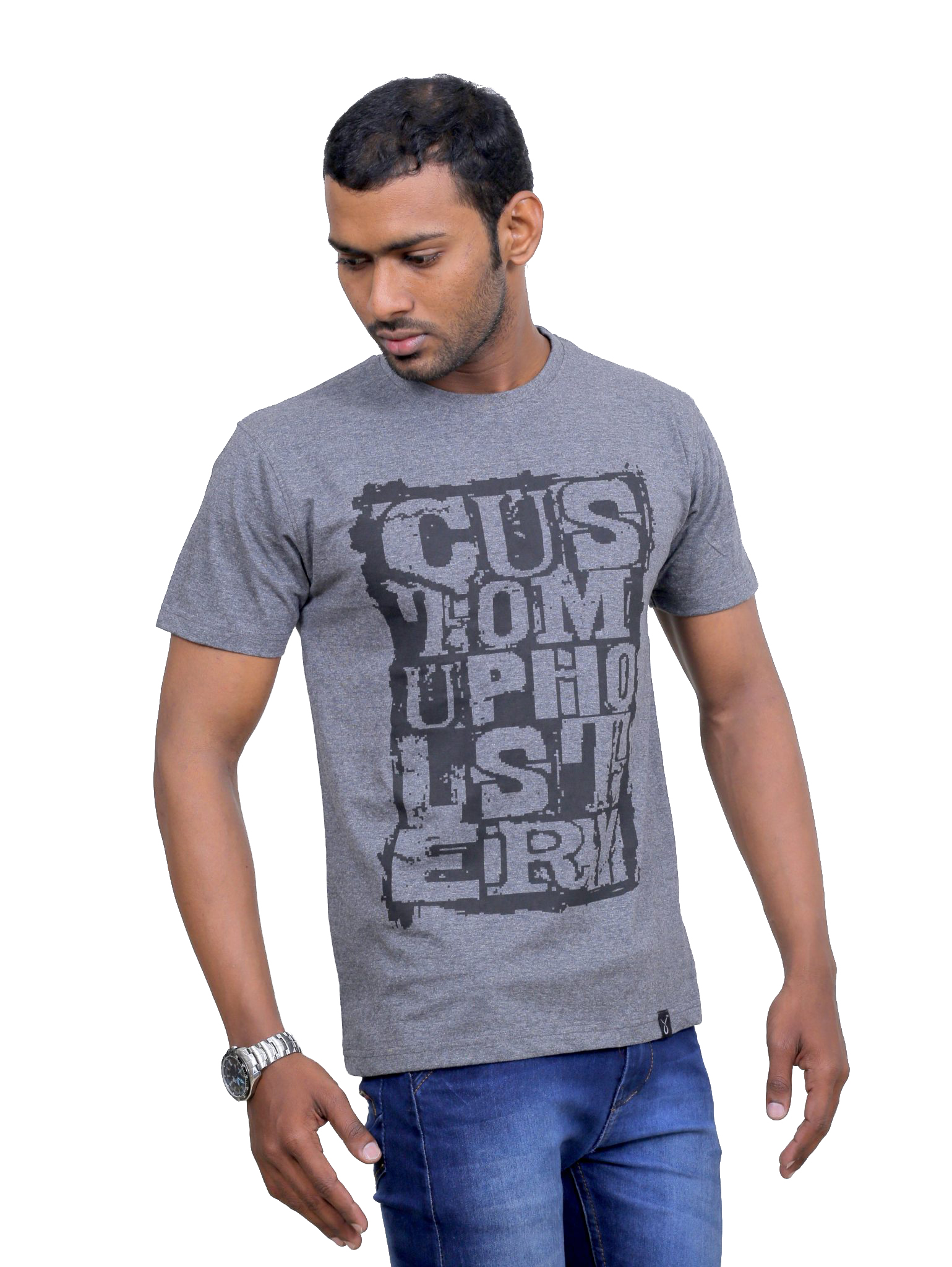 Indian Aurochs Men Naked Upholstery Grey Round Neck T -8991